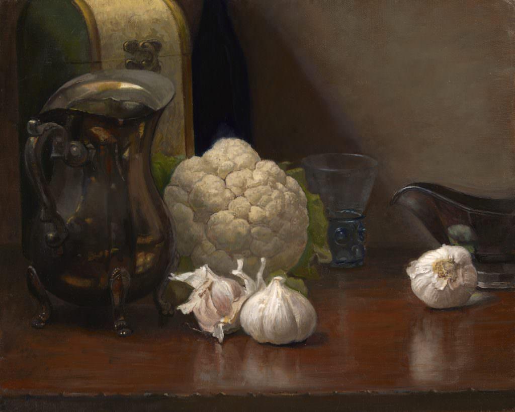 cauliflower with garlics and silver pitcher jpeg